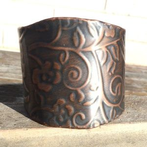 Solid Copper Patina Embossed Cuff Bracelet Floral
